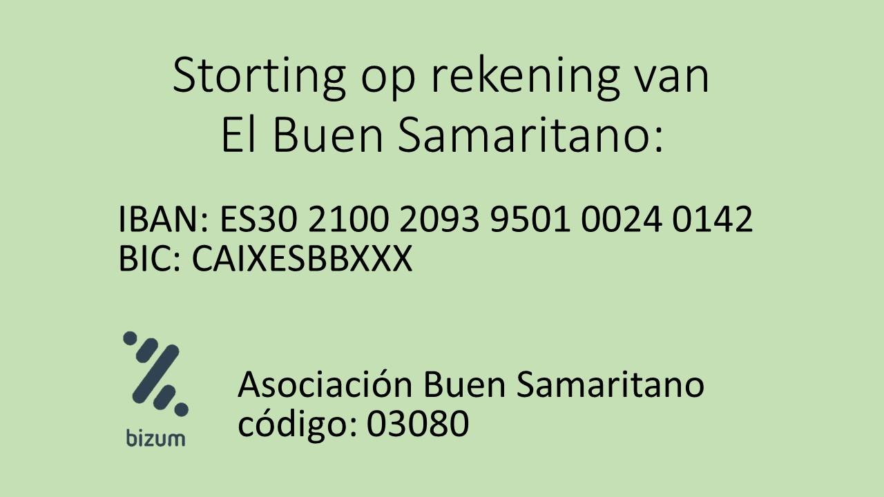 Ik stort op bankrekening: ES30 2100 2093 9501 0024 0142
