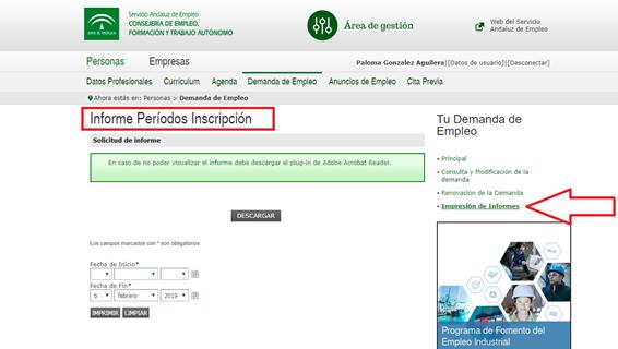 Obtención del informe de periodo de inscripción para los andaluces
