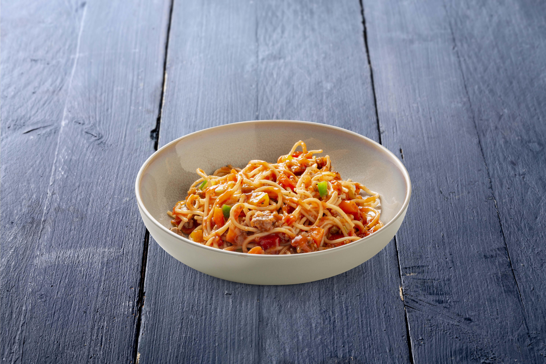 Spaghetti bolognese met rundergehakt en groenten