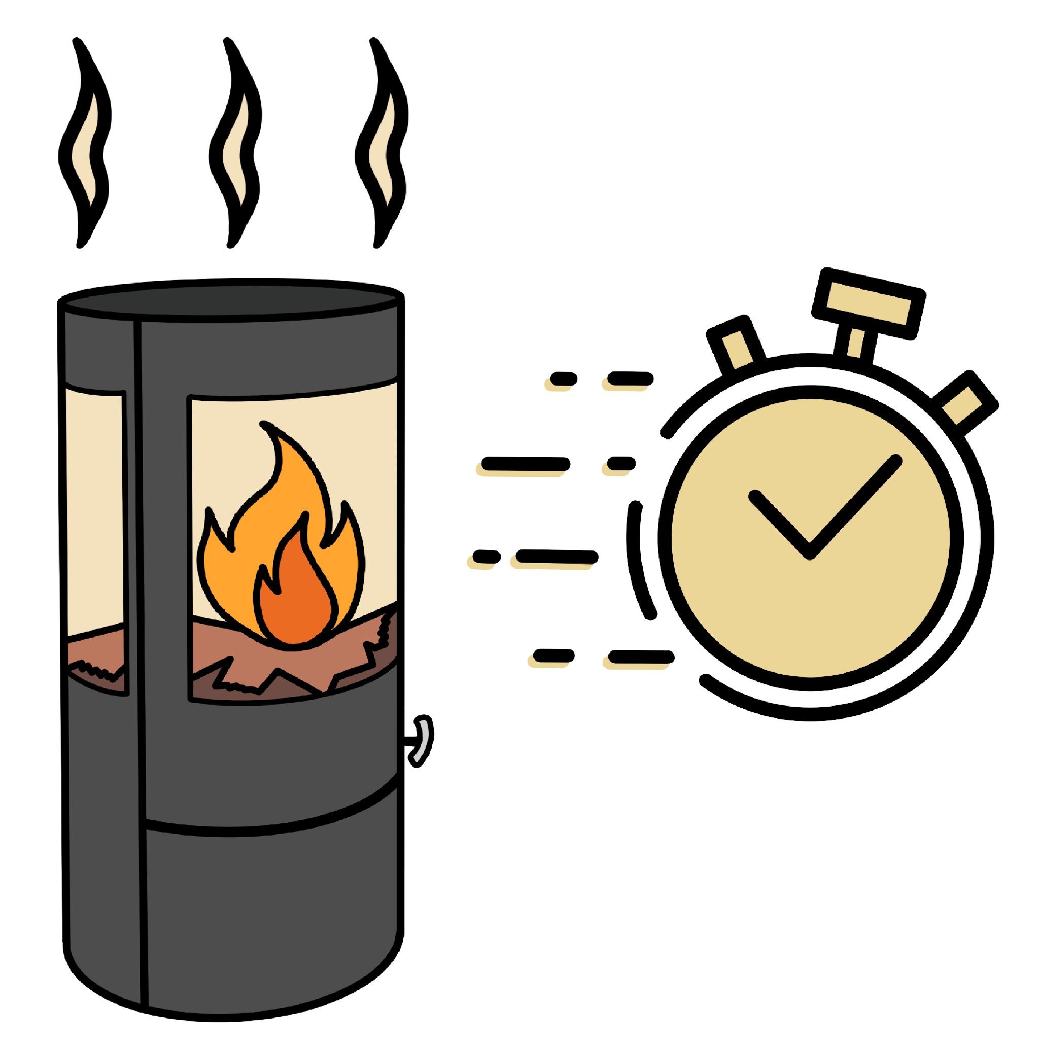 Eine schnelle Wärmeabgabe.