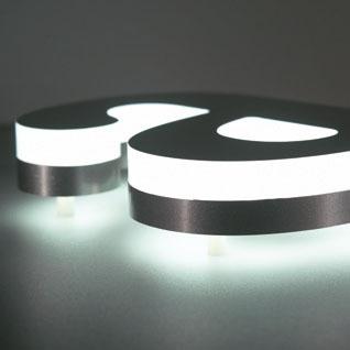 Lichtaustritt vorne und hinten, Zusätzlich mit Acrylglas oder Folie veredelt