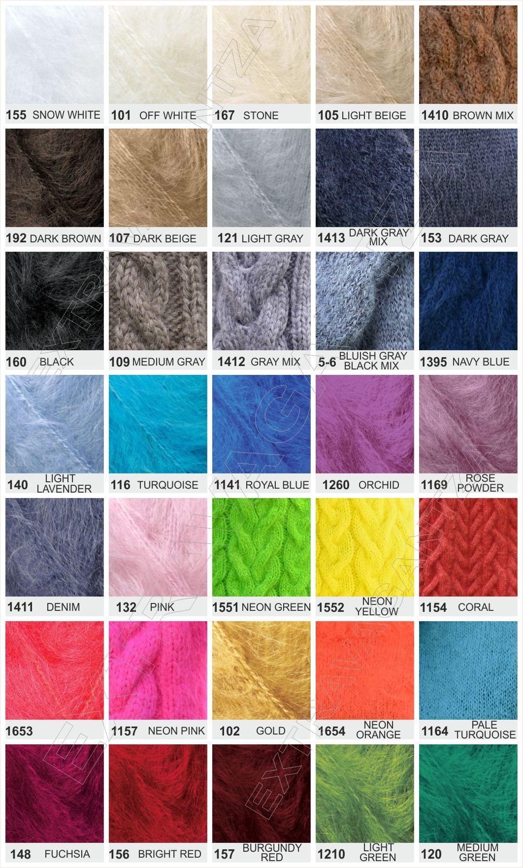 Extravagantza Mohair pants color chart