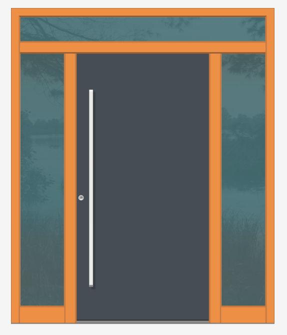 einflügelig mit 2 Seitenteilen und Oberlicht