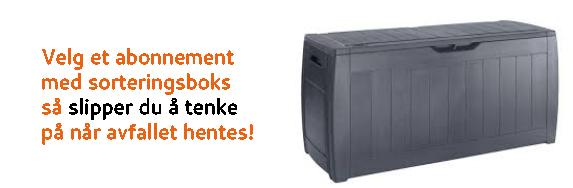 Hvis du velger et abonnement med sorteringsboks slipper du å tenke på når vi henter avfallet!