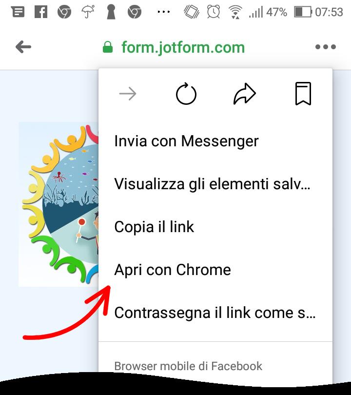 apri con Chrome - passo 2